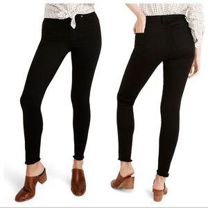 "Madewell Black 9"" Raw Hem Ankle Skinny Jeans"